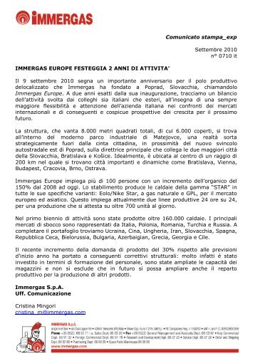 Press Release - Immergas