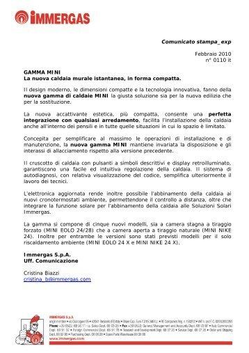 Comunicato stampa_exp Febbraio 2010 n° 0110 it ... - Immergas