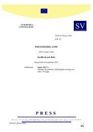 PRESSMEDDELANDE 2819:e mötet i rådet Jordbruk och ... - Europa