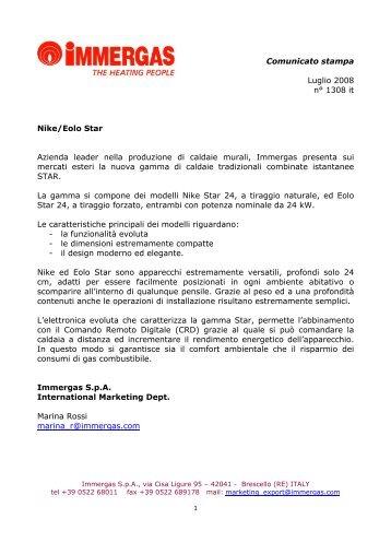 Comunicato stampa Luglio 2008 n° 1308 it Nike/Eolo ... - Immergas
