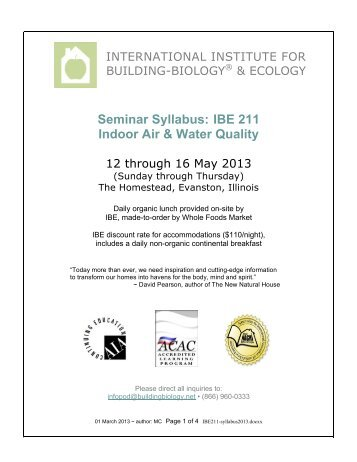 More Information - International Institute for Building Biology and ...