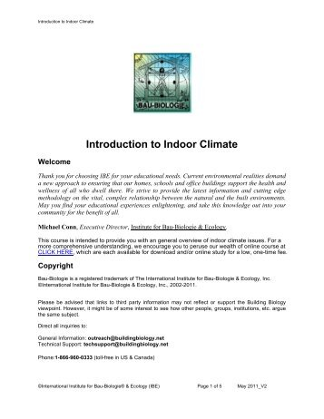 Introduction to Indoor Climate - International Institute for Building ...