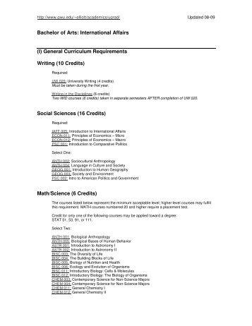 Social Sciences (16 Credits) - Elliott School of International Affairs