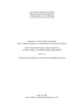 The United States and Pakistan - Elliott School of International Affairs