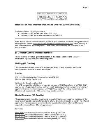 (I) General Curriculum Requirements - Elliott School of International ...