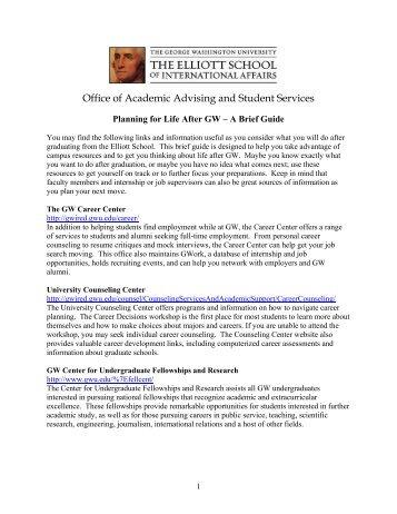 Planning for Life After GW - Elliott School of International Affairs