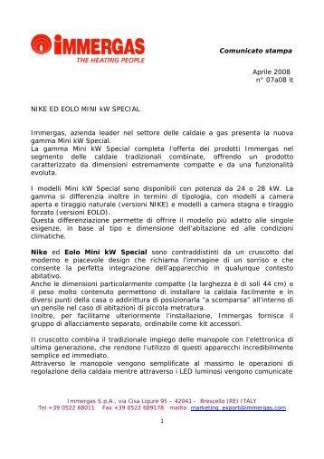 Comunicato stampa Aprile 2008 n° 07a08 it NIKE ED ... - Immergas