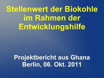 Stellenwert der Biokohle im Rahmen der Entwicklungshilfe - ANS eV