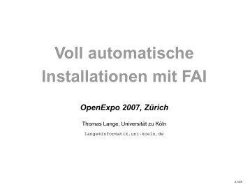 Voll automatische Installationen mit FAI
