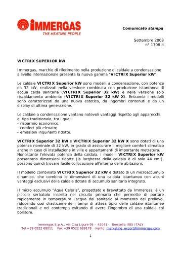 press release Victrix Superior kW - Immergas