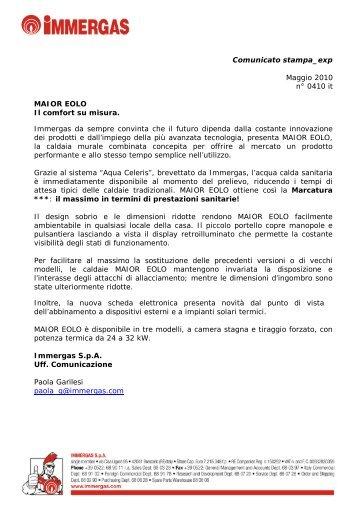 Comunicato stampa_exp Maggio 2010 n° 0410 it ... - Immergas