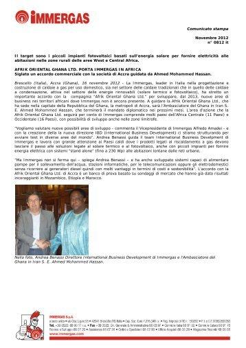 Comunicato stampa Novembre 2012 n° 0812 it Il target ... - Immergas