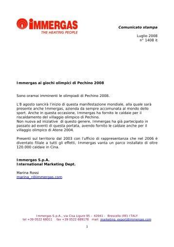 Comunicato stampa Luglio 2008 n° 1408 it Immergas ai giochi ...