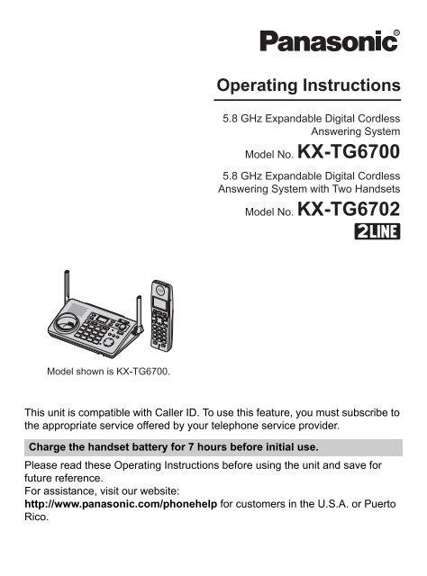 KXTG6700 - Operating Manuals for Panasonic Products - Panasonic