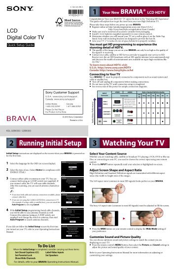 sony kdl55bx520 bravia lcd hdtv set up guide static rh yumpu com sony tv quick setup guide Symbol LS4278 Quick Reference Guide