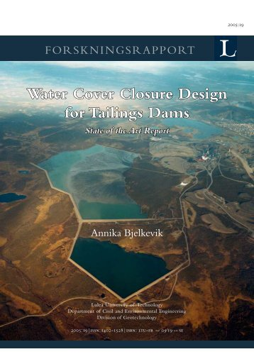Water Cover closure design for Tailings Dams, State of the Art Report