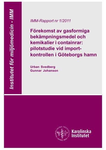 Förekomst av gasformiga bekämpningsmedel och kemikalier i ...