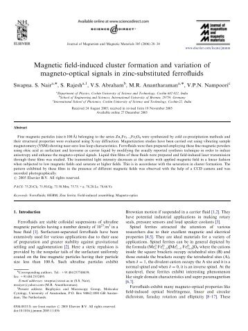 Magnetic field-induced cluster formation and variation of magneto ...
