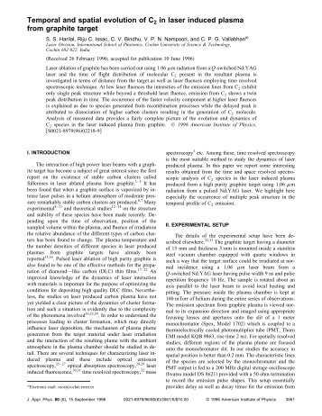 Temporal and spatial evolution of C2 in laser induced plasma from ...