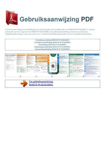 WAE28160FG - GEBRUIKSAANWIJZING PDF