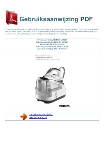Gebruiksaanwijzing PHILIPS GC8220 - GEBRUIKSAANWIJZING PDF