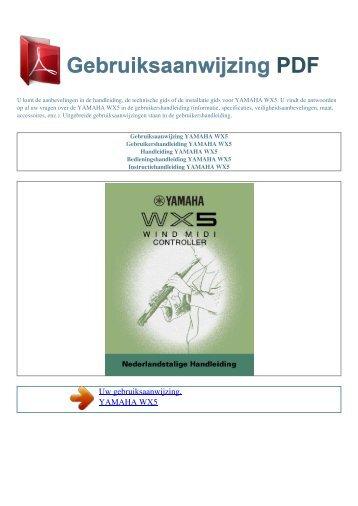 Gebruiksaanwijzing YAMAHA WX5 - GEBRUIKSAANWIJZING PDF