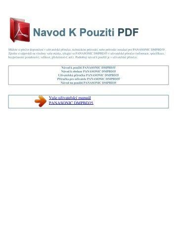 Návod k použití PANASONIC DMPBD35 - NAVOD K POUZITI