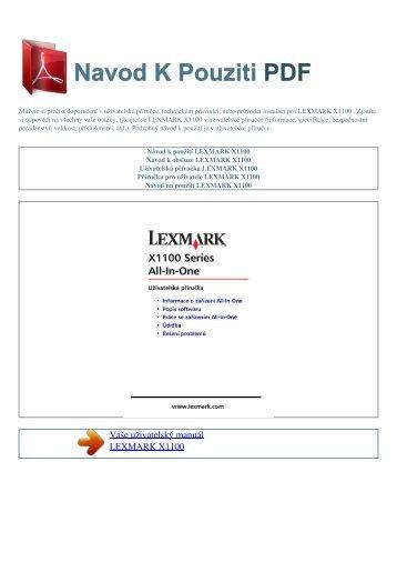 Návod k použití LEXMARK X1100 - NAVOD K POUZITI