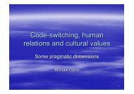 Code-switching, human relations and cultural values