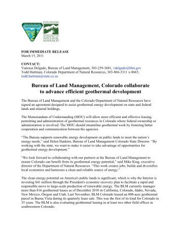 Press Release - Bureau of Land Management