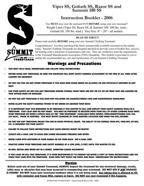Viper SS, Goliath SS, Razor SS and Summit 180 SS Instruction