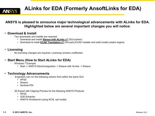 Welcome to ALinks for EDA - Ansys