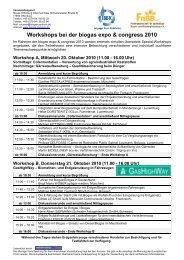 Workshop-Programm - BIOGAS Intensiv