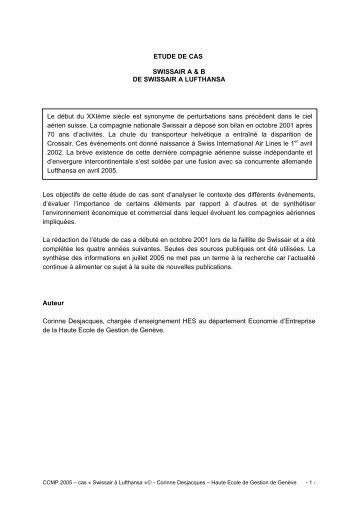 ETUDE DE CAS SWISSAIR A & B DE SWISSAIR A LUFTHANSA ...