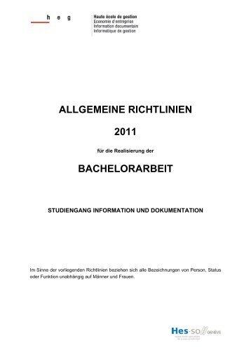 ALLGEMEINE RICHTLINIEN 2011 BACHELORARBEIT