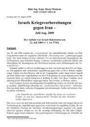 Anlage A Israels Kriegsvorbereitung gegen Iran - 14-08-2009