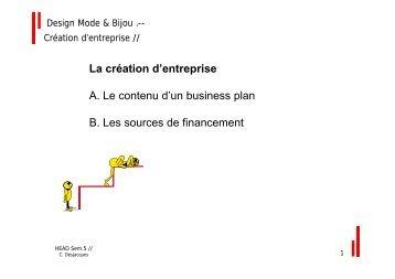 La création d'entreprise A. Le contenu d'un business plan B. Les ...