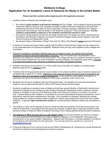 Leave of absence application skidmore college application for an academic leave of absence for altavistaventures Gallery