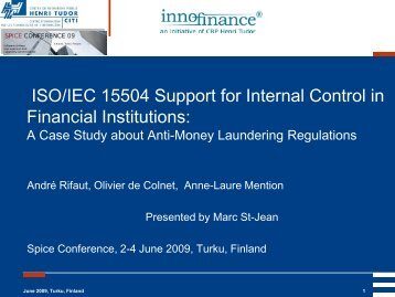 ISO/IEC 15504 Support for Internal Control in Financial Institutions: