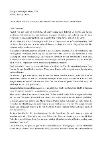 Weihnachtspredigt 2012 zu Joh 7,28f