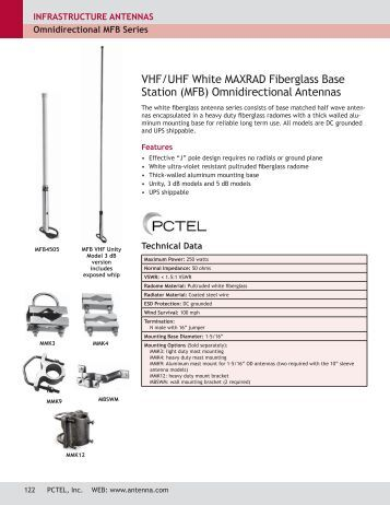 BASE STATION ANTENNAS - VHF & UHF OMNIDIRECTIONAL