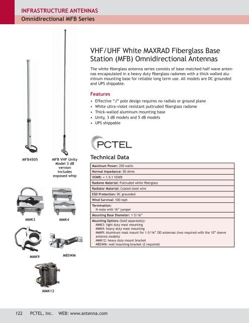BASE STATION ANTENNAS - VHF & UHF OMNIDIRECTIONAL