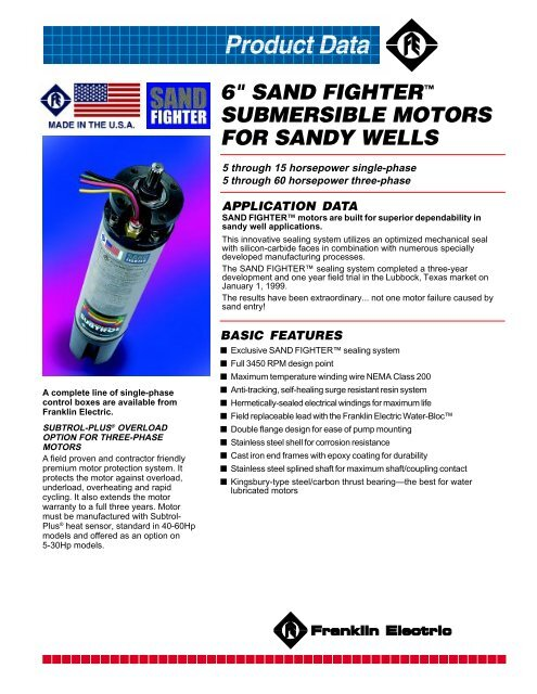 6 in Sand Fighter Franklin Submersible Motors