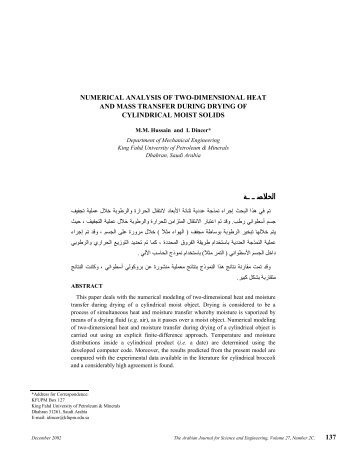 Numerical Analysis of Two-Dimensional Heat and Mass Transfer ...