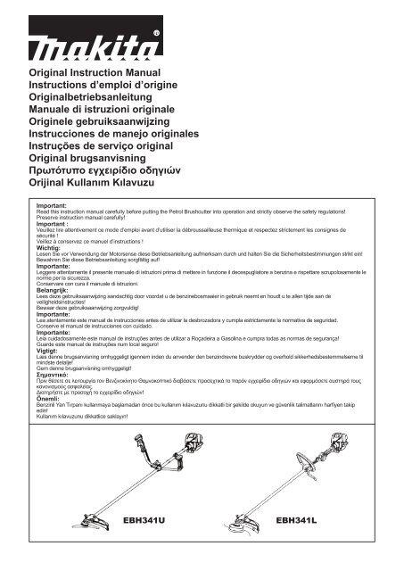 Original Instruction Manual Instructions d'emploi d'origine ... - Makita