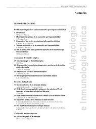 Sumario - Alergología e Inmunología Clínica