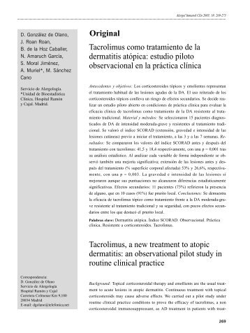 Tacrolimus como tratamiento de la dermatitis atópica - Alergología e ...