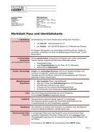 Merkblatt Pass und Identitätskarte