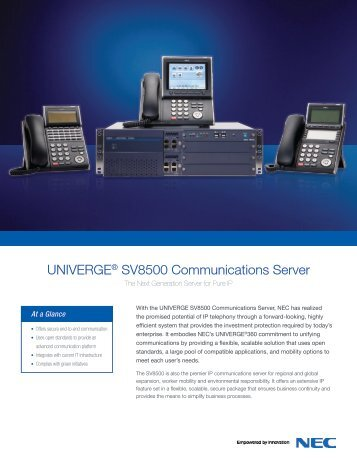 UNIVERGE® SV8500 Communications Server - NEC Philippines, Inc.