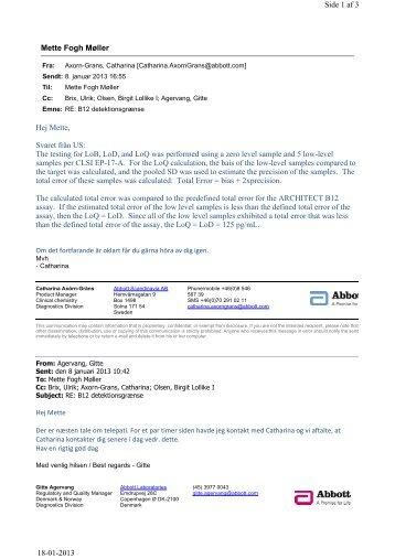 B12 svar fra Abbott ang. kvantificeringsgrænse.pdf - e-Dok